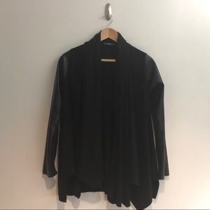 Zara Cardigan with Faux Leather Sleeves